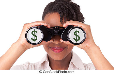 frauenunternehmen, zeichen, dollar, junger, /, freigestellt,...