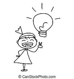 frauenunternehmen, zeichnung, begriff, hand, karikatur,...
