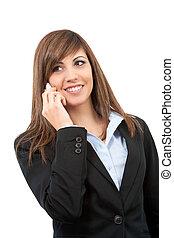 frauenunternehmen, zelle, telefon., porträt, lächeln