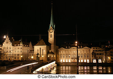 Fraumuenster and Limmat river in Zurich night - Fraumuenster...