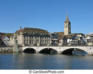 Fraumuenster and old bridge, scene in Zurich