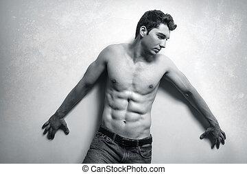 fraværende., muskuløse, mand, sexet