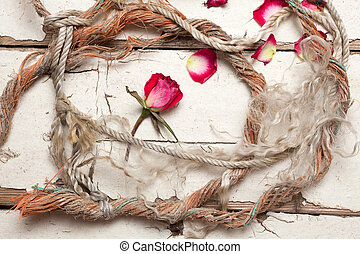 Rope on old wooden table