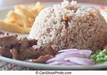 freír, arroz, con, el, camarón, pasta