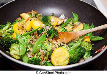 freír, conmoción, vegetal, sano