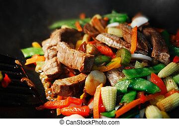 freír, conmoción, wok