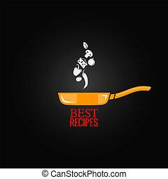 freír, diseño, cacerola, plano de fondo, menú