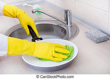freír, mujer, limpieza, cacerola