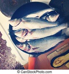 freír, pez, tabla, cacerola, fresco