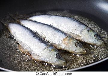 freír, sardina, pez, en, un, cacerola