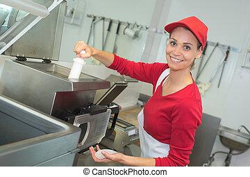 freír, trabajador industrial, profundo, cocina