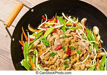freír, wok, cacerola