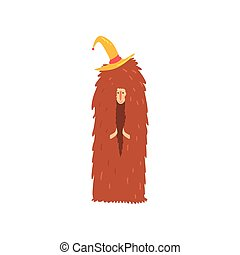 Freak man character in funny hairy brown costume and hat,...