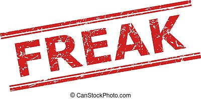 Red FREAK stamp seal on a white background. Flat vector scratched seal stamp with FREAK title inside double parallel lines. Watermark with grunge surface.