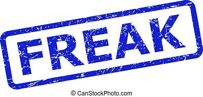 Blue FREAK stamp seal on a white background. Flat vector scratched seal with FREAK title is placed inside rounded rectangle frame. Watermark with corroded surface.