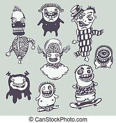 Freak Set - Freak. Funny Conceptual Vector Illustration Set