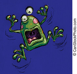A funny fraked out frog shouting
