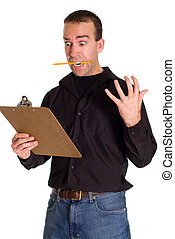 Freaking Out - A man with a clipboard freaking out, isolated...