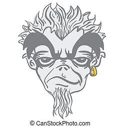 freaky bearded monster cartoon illustration