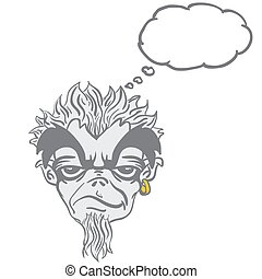 freaky bearded monster with thought bubble cartoon