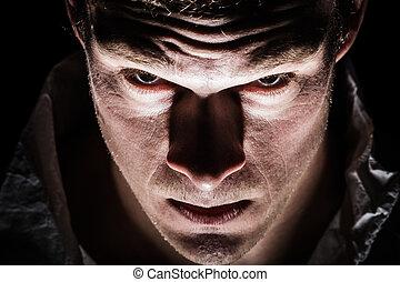 freaky, bizonytalan, closeup, lelkibeteg, ember