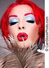 Freaky diva - Close-up portrait of redhead woman with fancy...