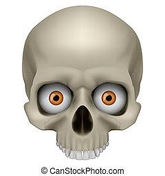 Freaky Human Skull. Illustration on white for design