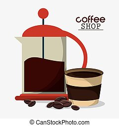 freanch press coffee cup beans vector illustration eps 10