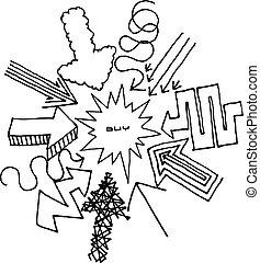 frecce, centro, indicare, cartone animato