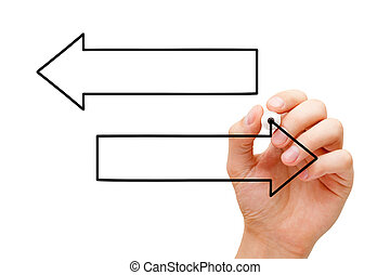 frecce, due, mano, diagramma, vuoto, disegno