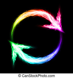 frecce, fiammeggiante, circolare