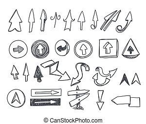 frecce, hand-drawn, set