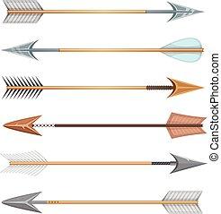 frecce, pietra, metallo, legno, arco, cartone animato