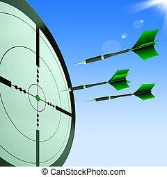 frecce, punteria, bersaglio, mostra, colpire, mete