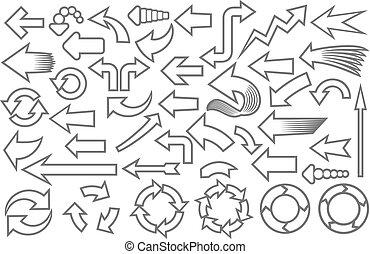 frecce, (set), collezione, icone