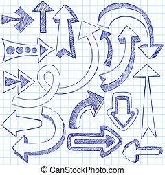frecce, sketchy, doodles, vettore, set