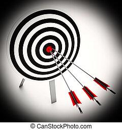frecce, su, bersaglio, mostra, perfetto, strategia
