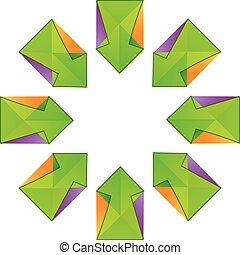 frecce, vettore, fractal, verde, logotipo