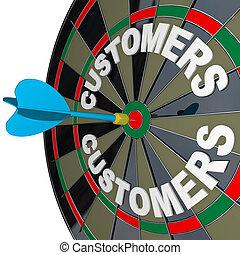 freccetta, in, bulls-eye, bersaglio, clienti, parola, su, bersaglio