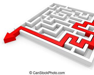 freccia, andare, attraverso, il, maze., destra, soluzione, concetto