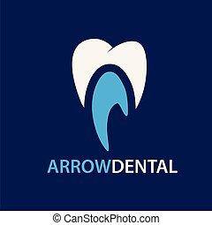 freccia, dentale, vettore, sagoma, logotipo, icona