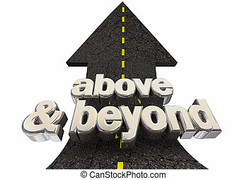 freccia, expectations, illustrazione, alto, sopra, oltre, parole, strada, 3d