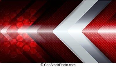 freccia, forma., fondo, geometrico, bianco rosso