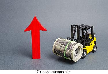 freccia, industrie, su., dollari, markets., grande, rosso, ...