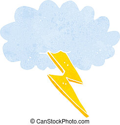 freccia lampo, nuvola, cartone animato