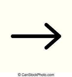 freccia nera, simbolo., destra, vettore, icon.