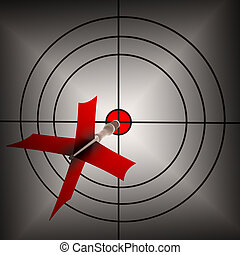 freccia, punteria, su, bersaglio, mostra, punteria, accuratezza