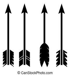 freccia, set, icona