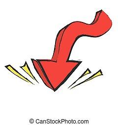freccia, vettore, cartone animato, indicare, giù