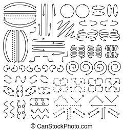 freccia, vettore, set, collezione, file